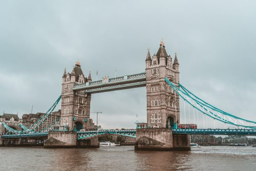 London tower in England an old bridge on a rainy day,